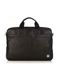 Durham slim black leather laptop briefcase