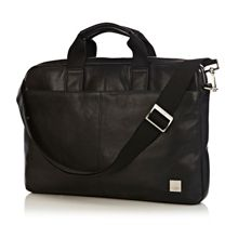 Knomo Durham slim black leather laptop briefcase
