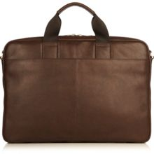 Durham brown leather laptop briefcase