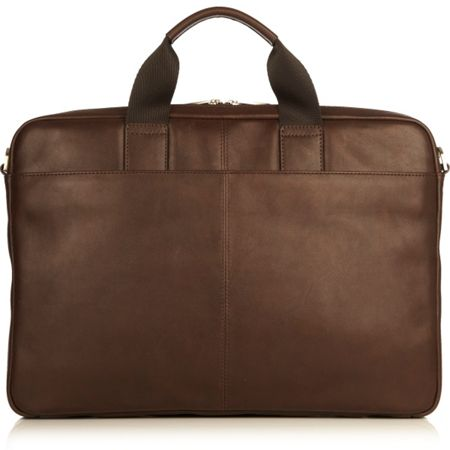 Knomo Durham brown leather laptop briefcase