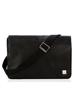 Kinsale black leather and nylon messenger bag