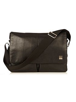 Kobe black leather messenger bag