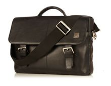 Knomo Jackson soft black leather briefcase