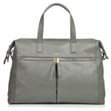 Audley 14 slim grey leather tote bag