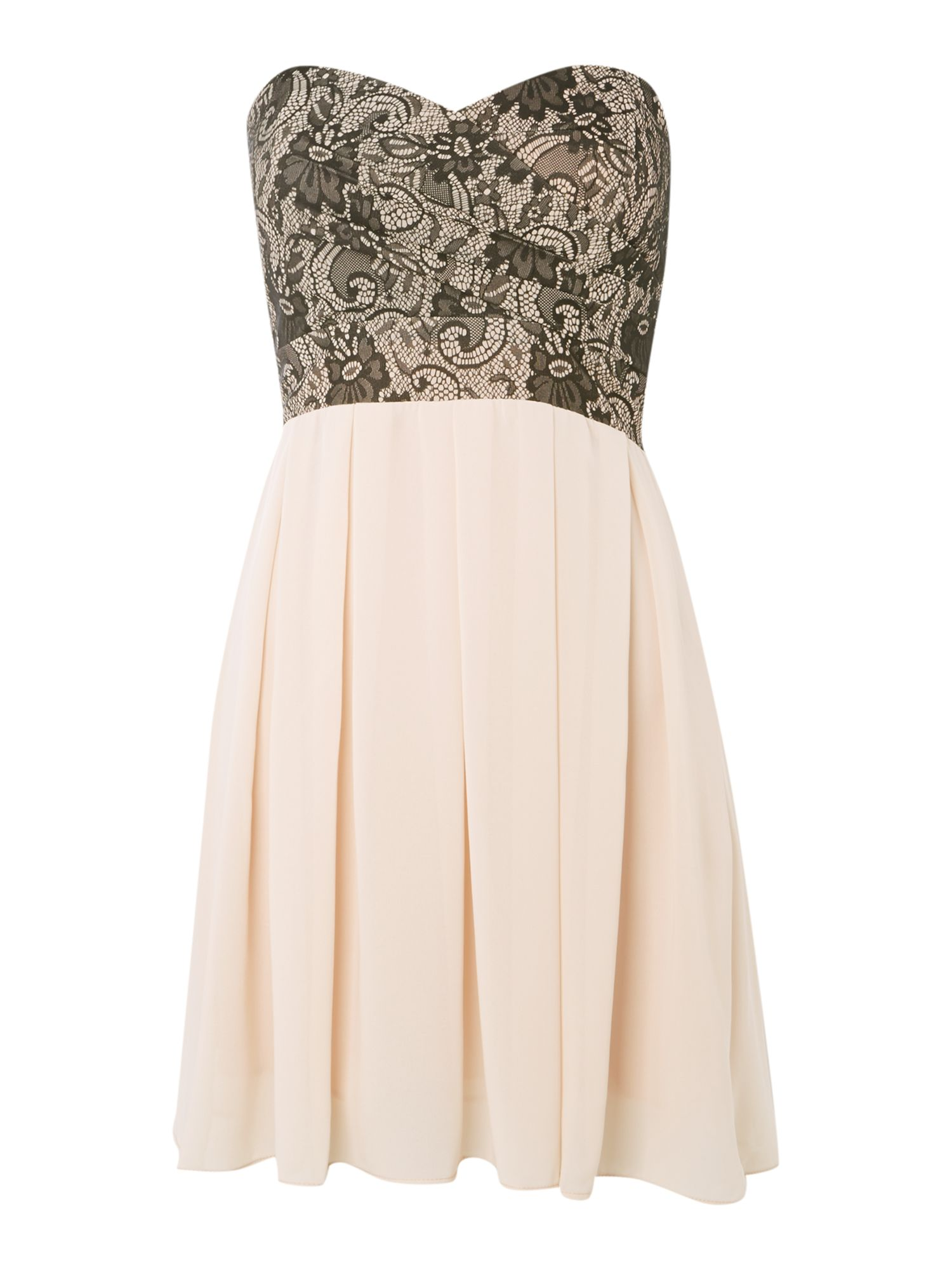 Bandeau Lace Pleat Skirt Dress