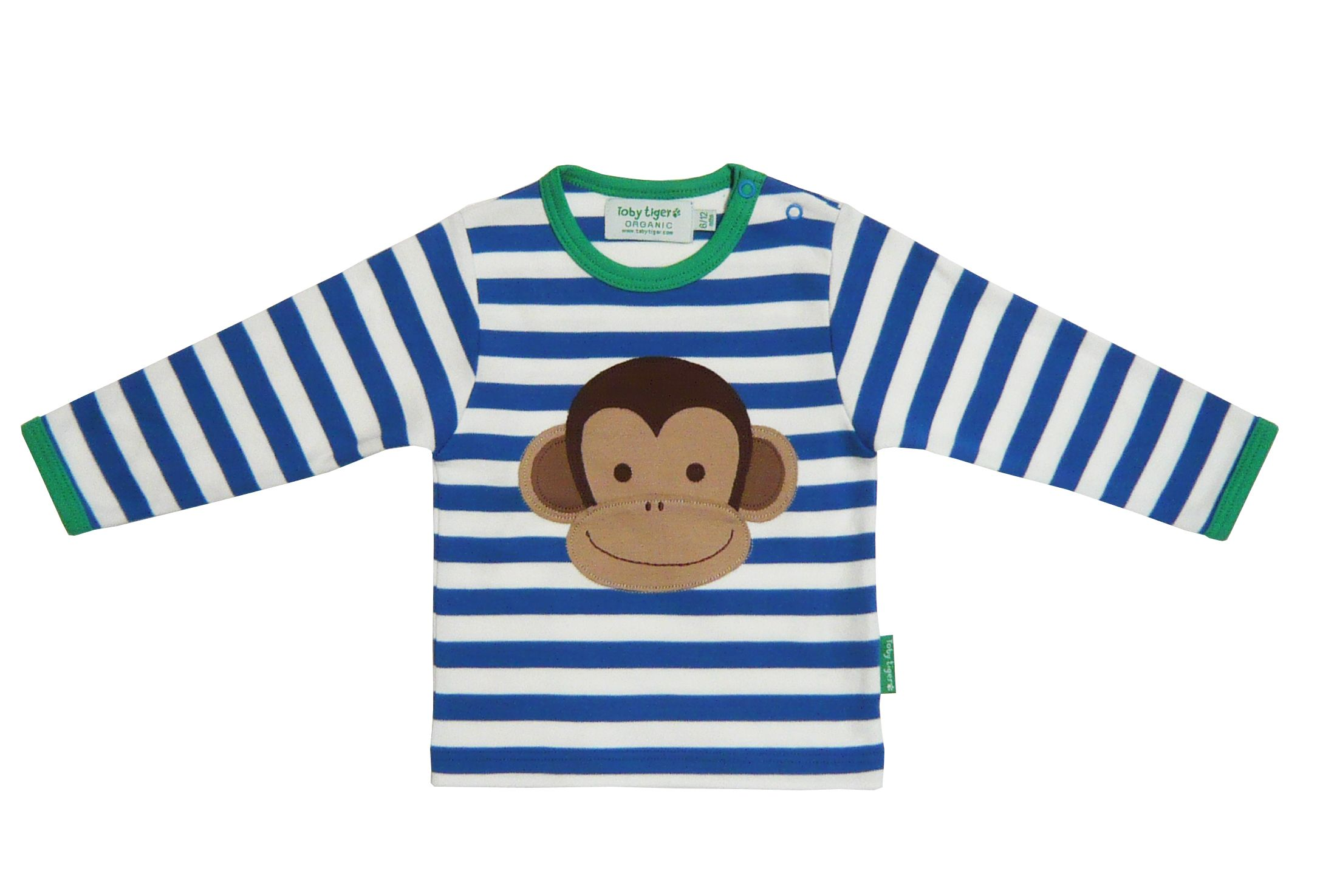 Toby Tiger Boys organic cotton monkey t-shirt, Blue