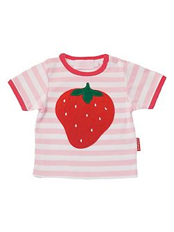 Girl`s organic cotton strawberry t-shirt
