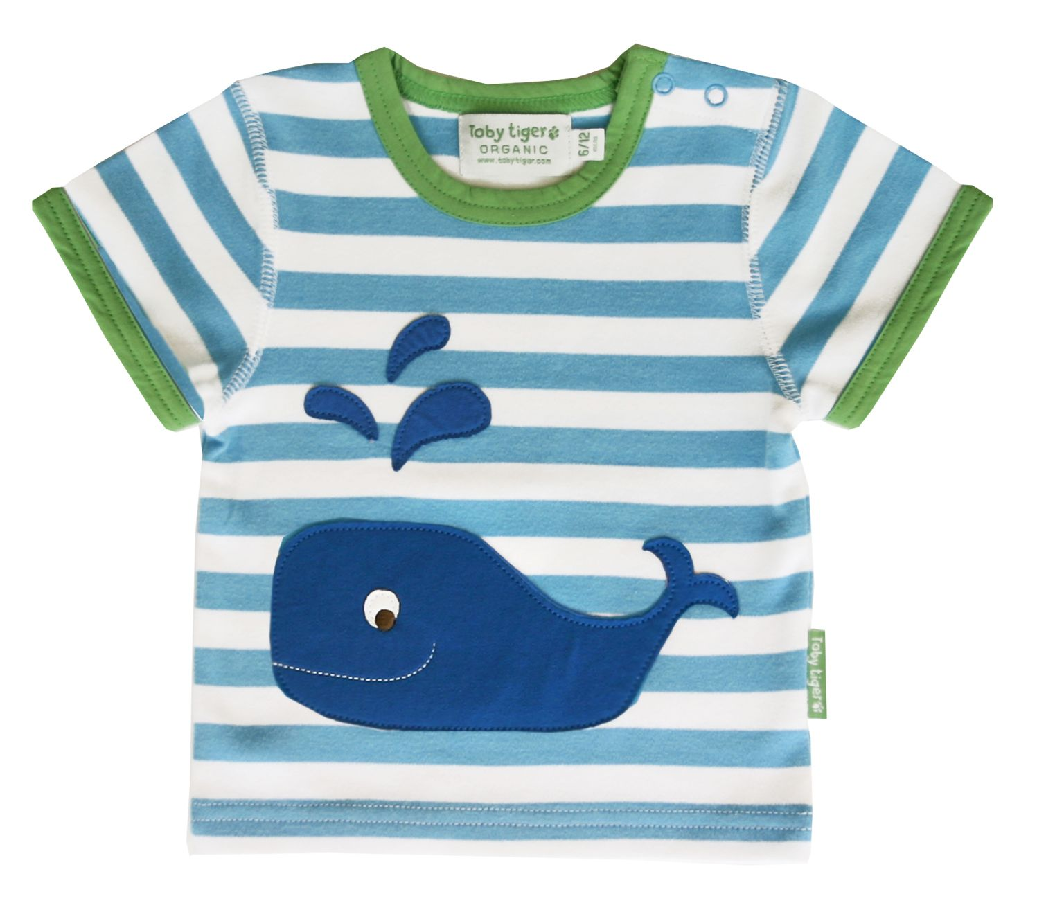 Toby Tiger Boys organic cotton whale t-shirt, Blue