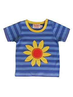 Toby Tiger Girl`s organic cotton sunflower t-shirt