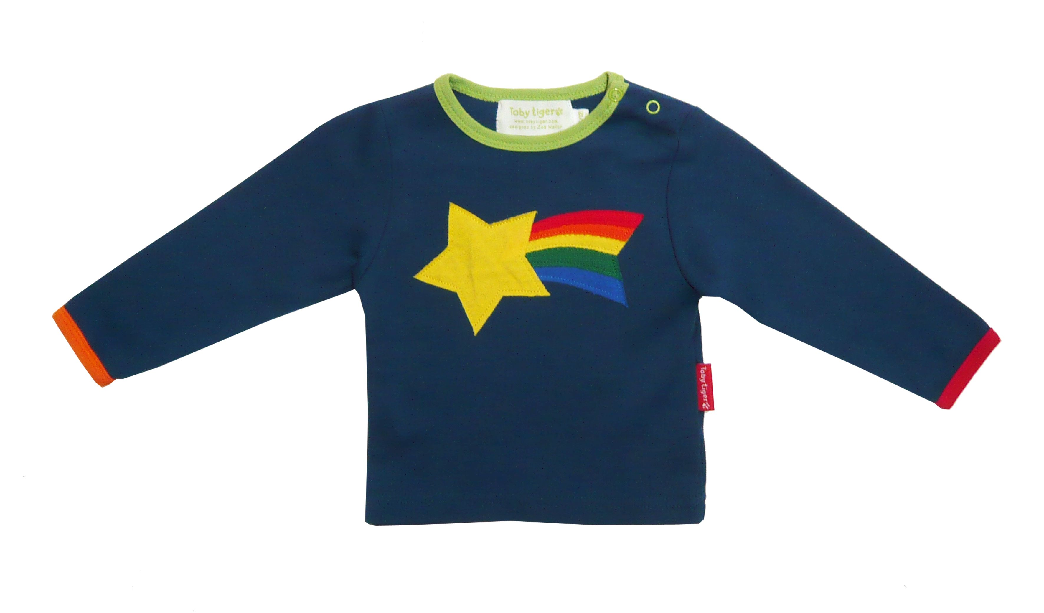 Toby Tiger Boys organic cotton star t-shirt, Blue