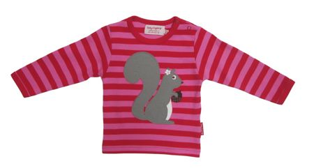 Toby Tiger Girl`s organic cotton squirrel t-shirt