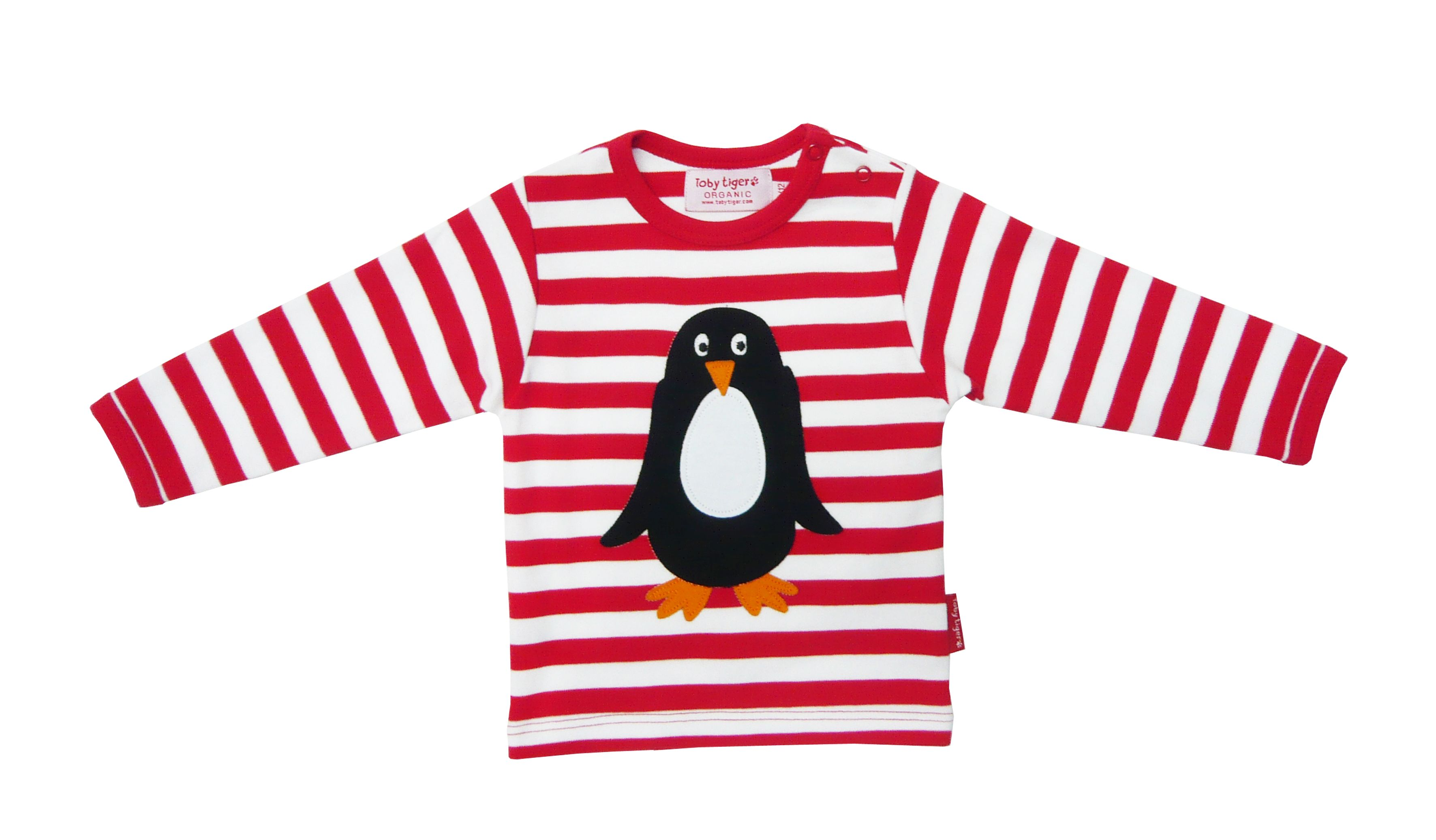 Toby Tiger Boys organic cotton penguin t-shirt, Red