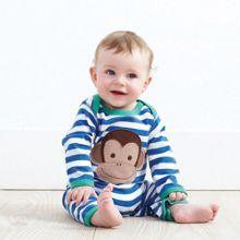 Boy`s Organic applique monkey sleepsuit