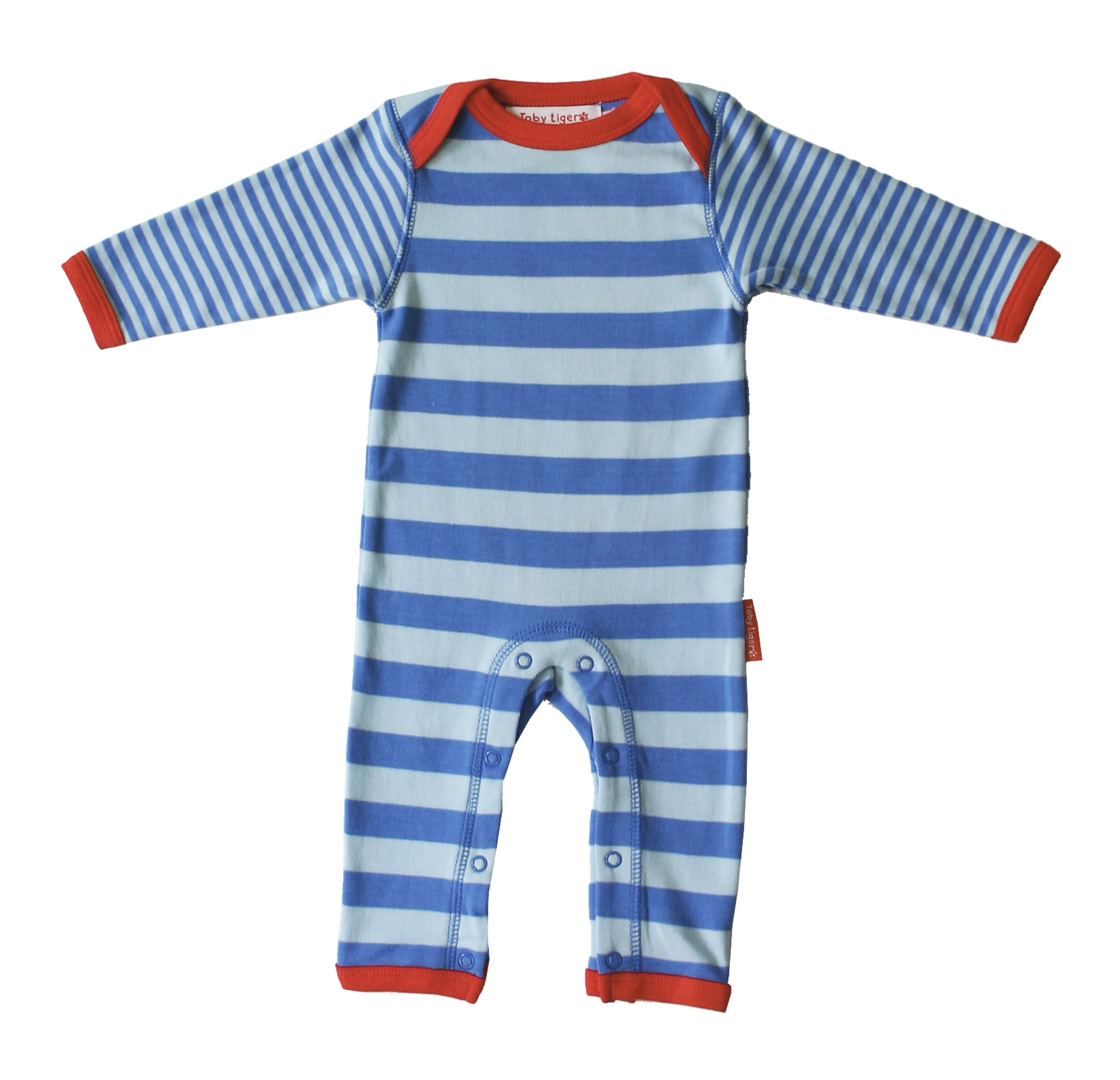 Toby Tiger Baby organic cotton sleepsuit, Blue