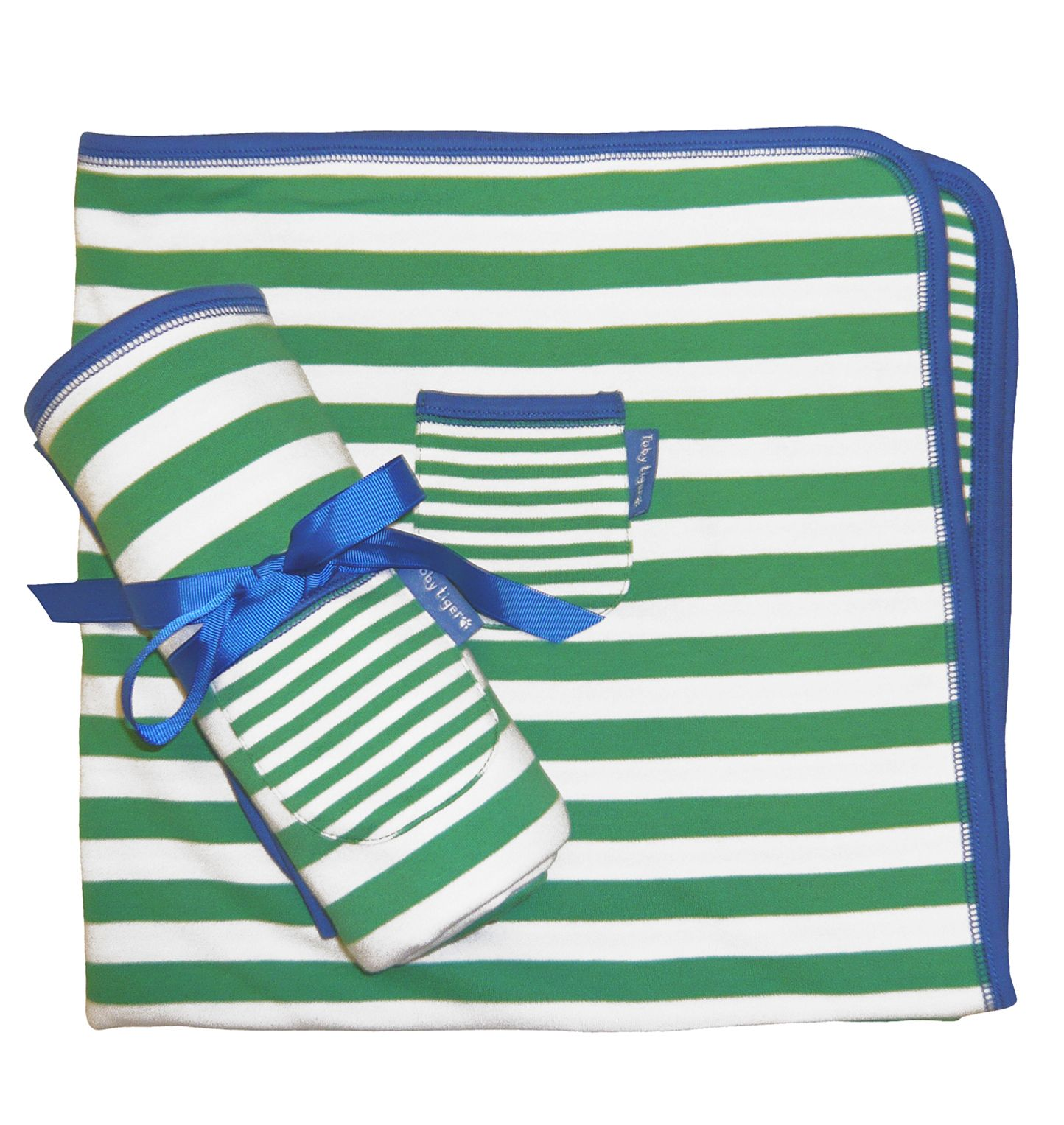 Toby Tiger Boys organic cotton green blanket, Green