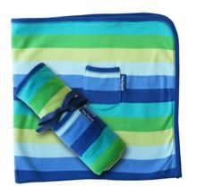Toby Tiger Boy`s organic cotton blue blanket