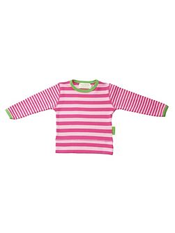 Girl`s organic cotton striped t-shirt