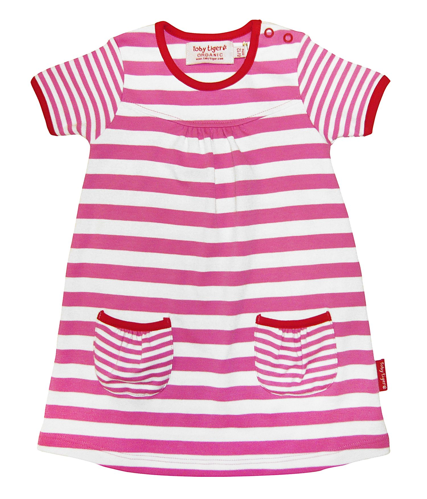 Girl`s organic cotton pink t-shirt dress