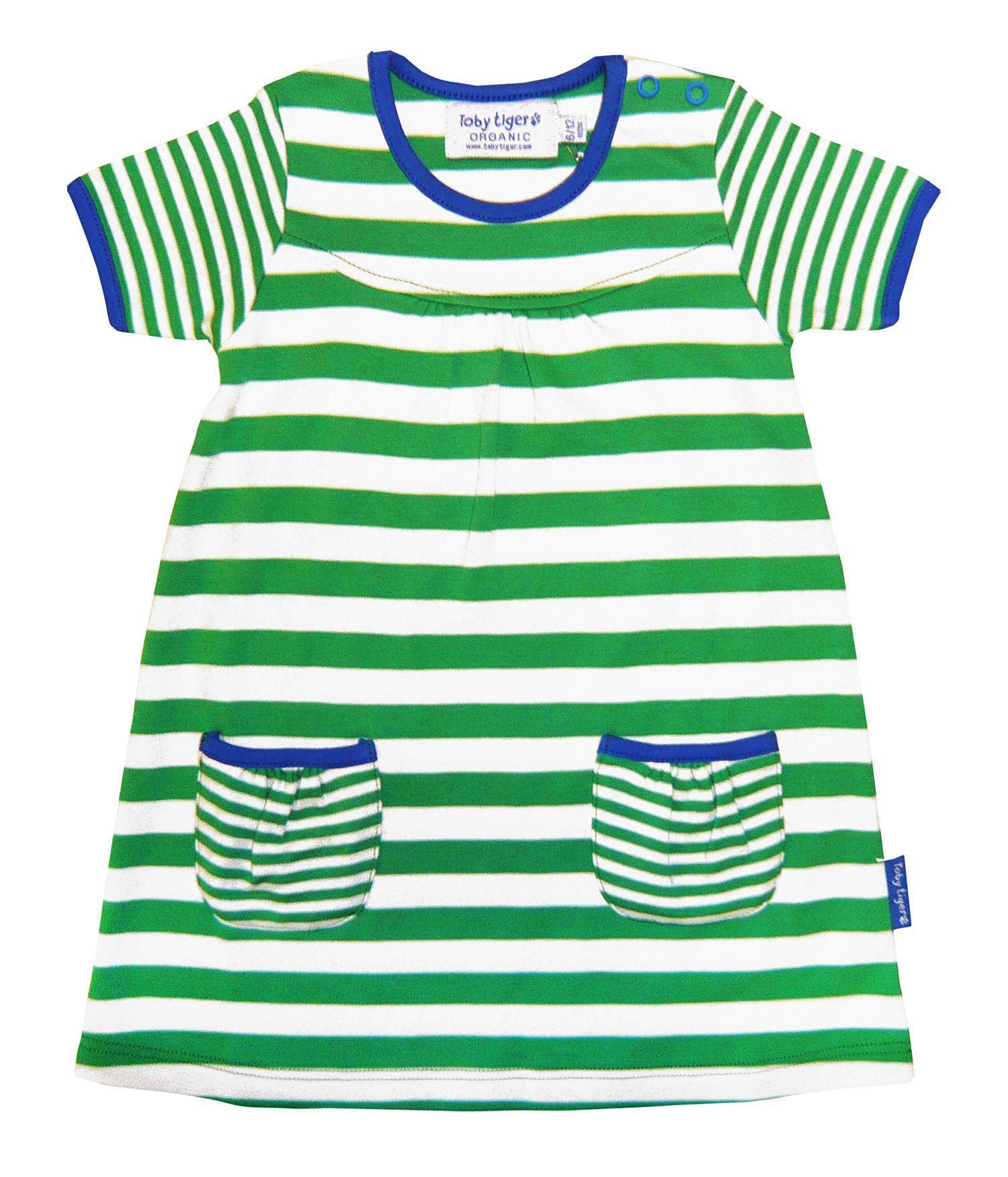 Girl`s organic cotton green t-shirt dress