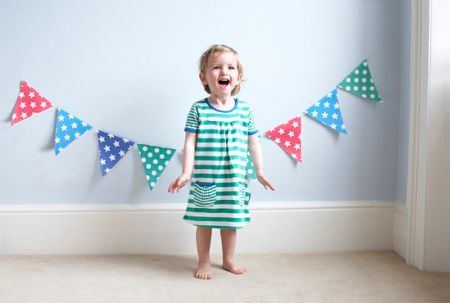 Toby Tiger Girl`s organic cotton green t-shirt dress