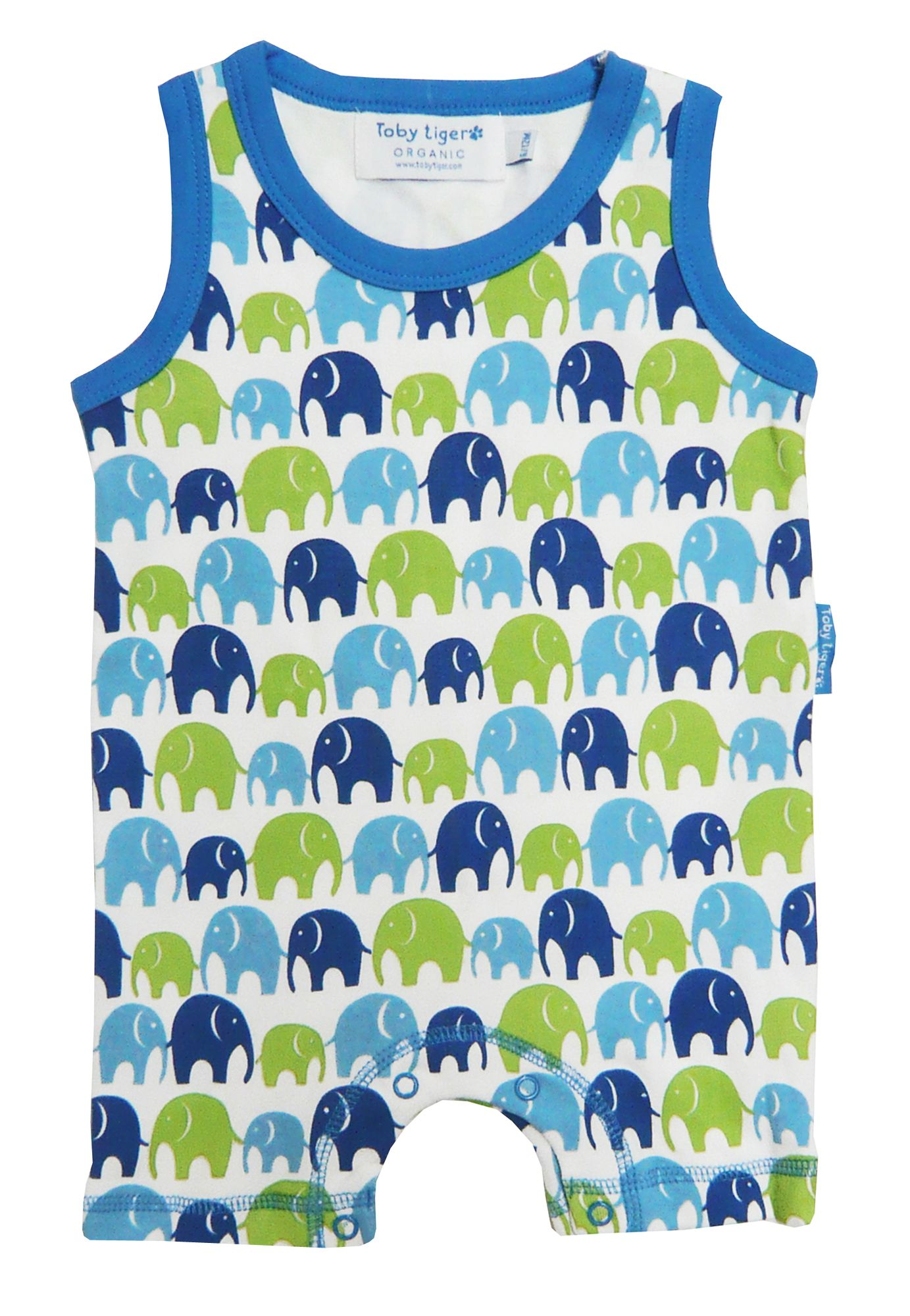 Toby Tiger Baby organic sleeveless romper, Blue