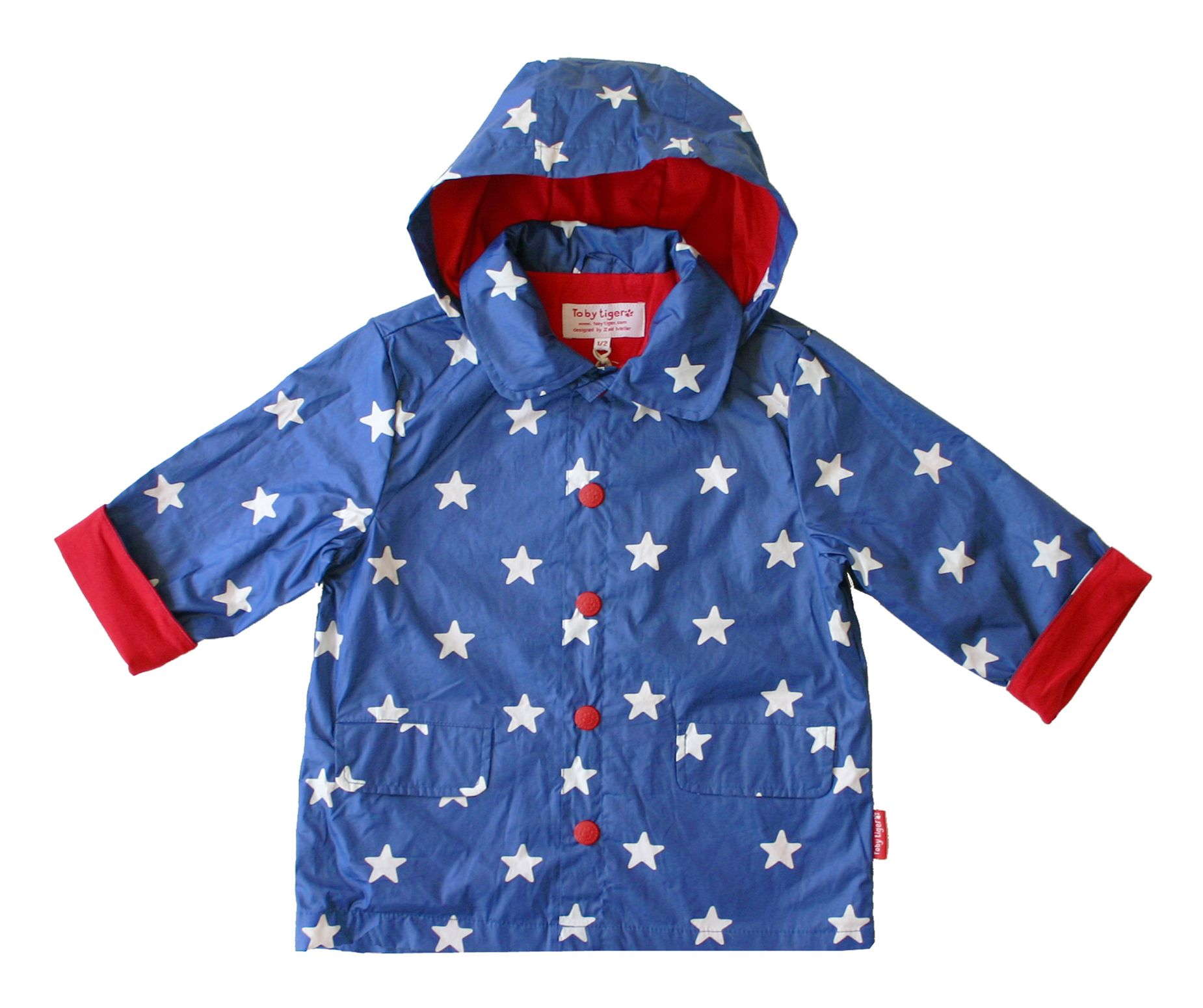 Toby Tiger Boys hooded raincoat, Blue