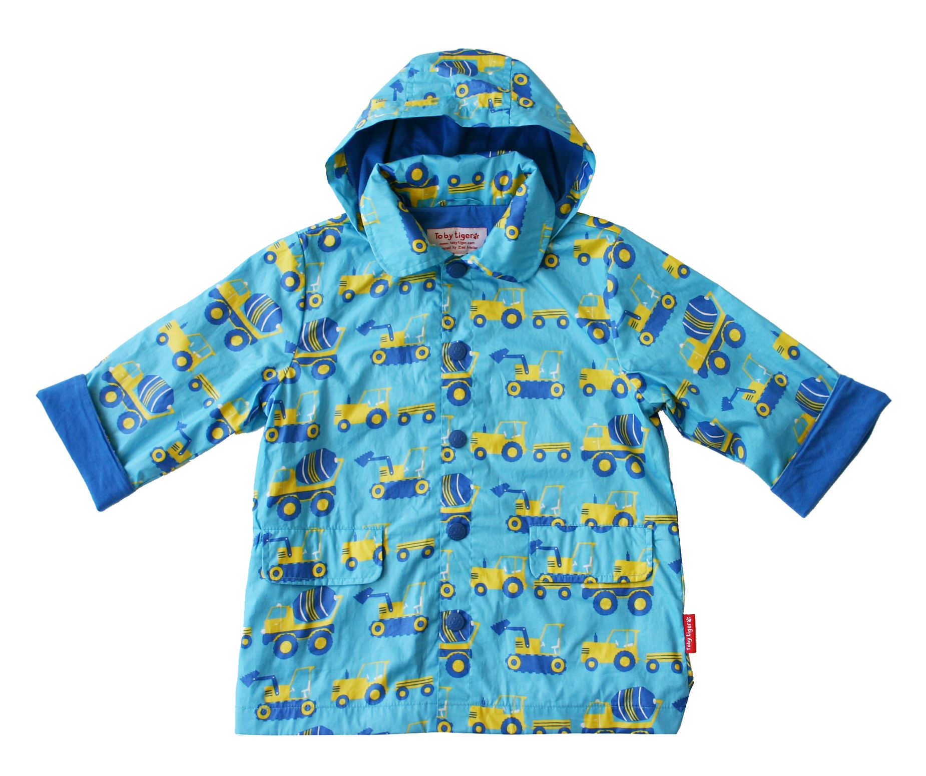 Toby Tiger Boys hooded raincoat, Turquoise