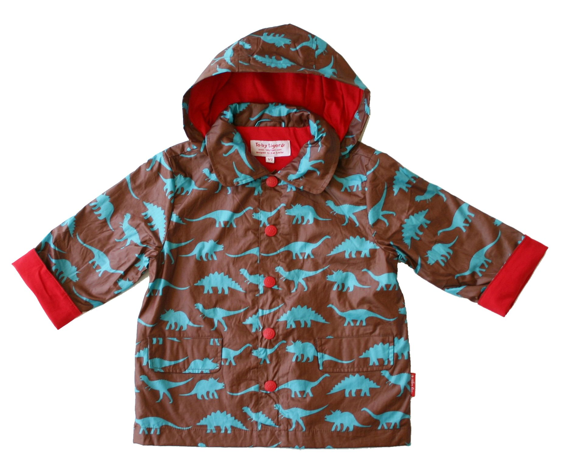 Toby Tiger Boys hooded raincoat, Brown