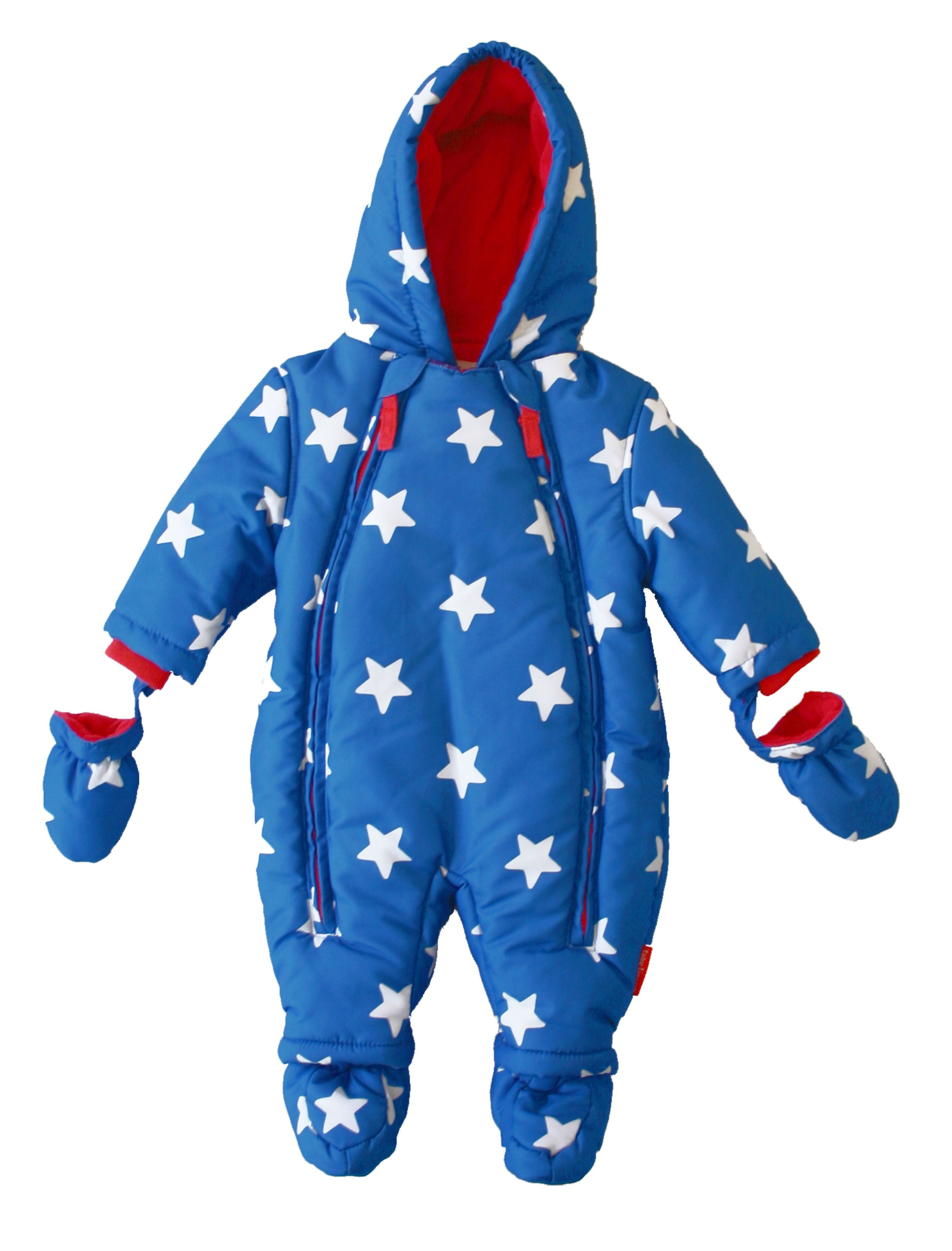 Toby Tiger Baby hooded fleece lined snowsuit, Blue
