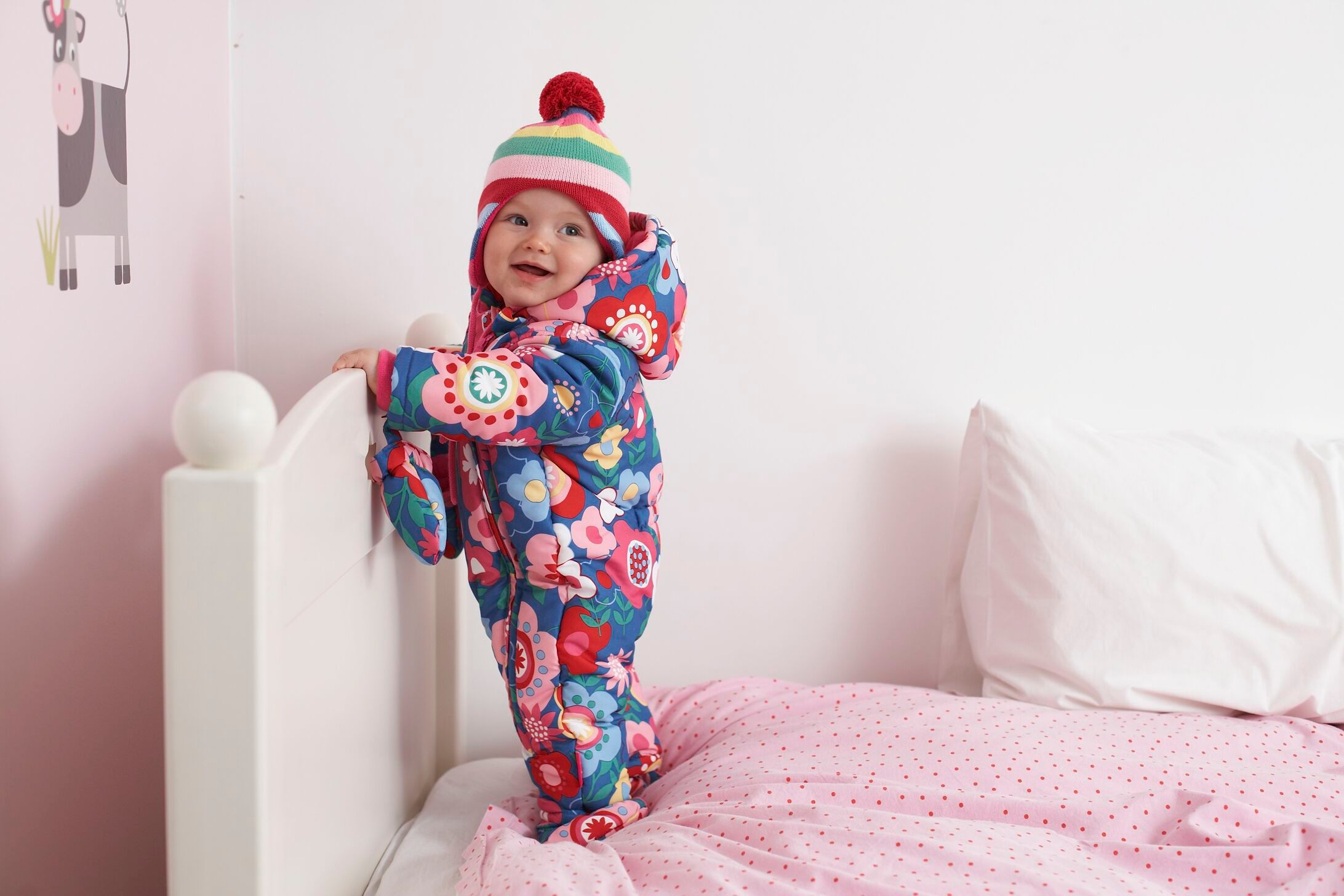 Baby hooded fleece lined snowsuit