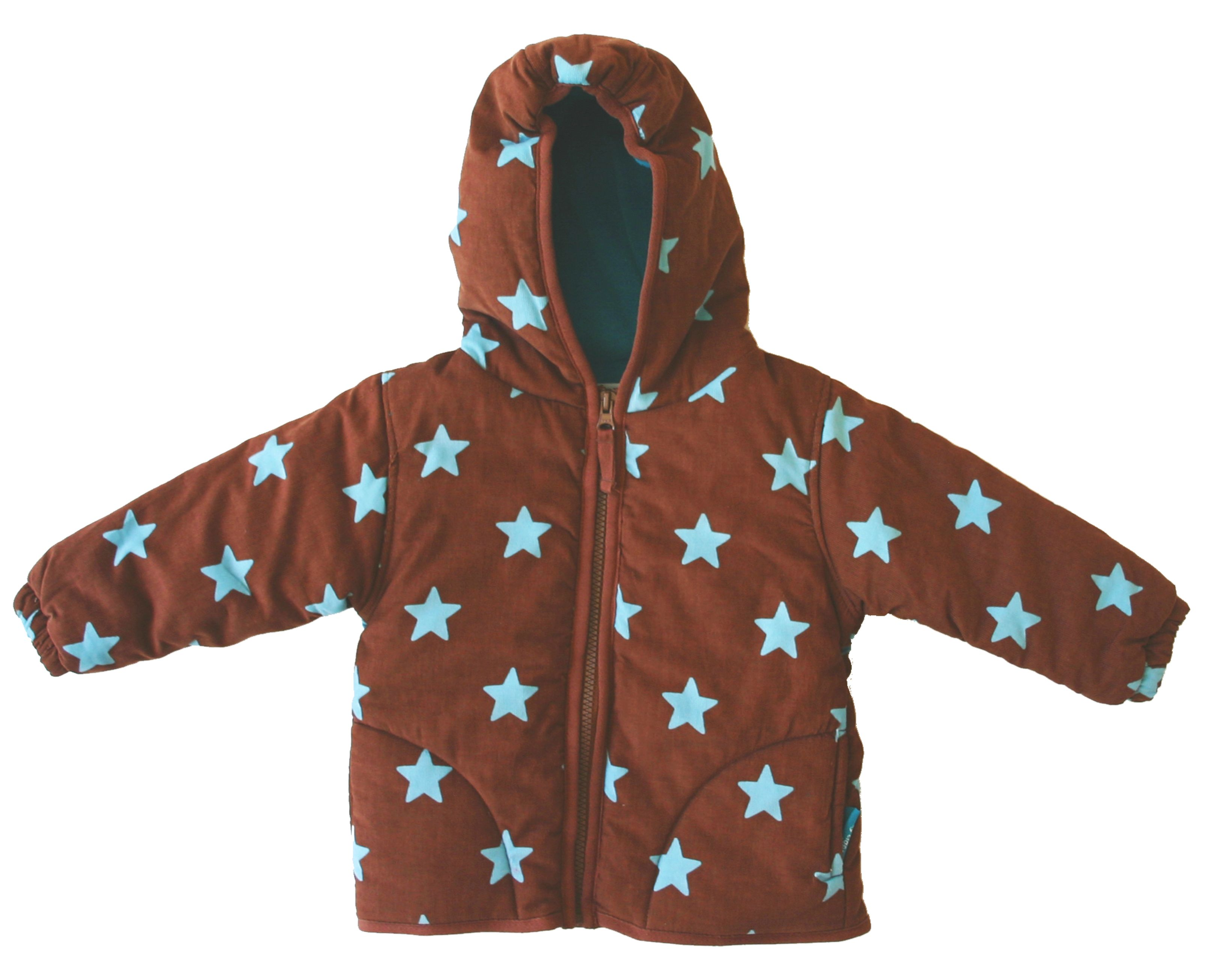 Toby Tiger Boys padded cord jacket, fleece lining, Brown
