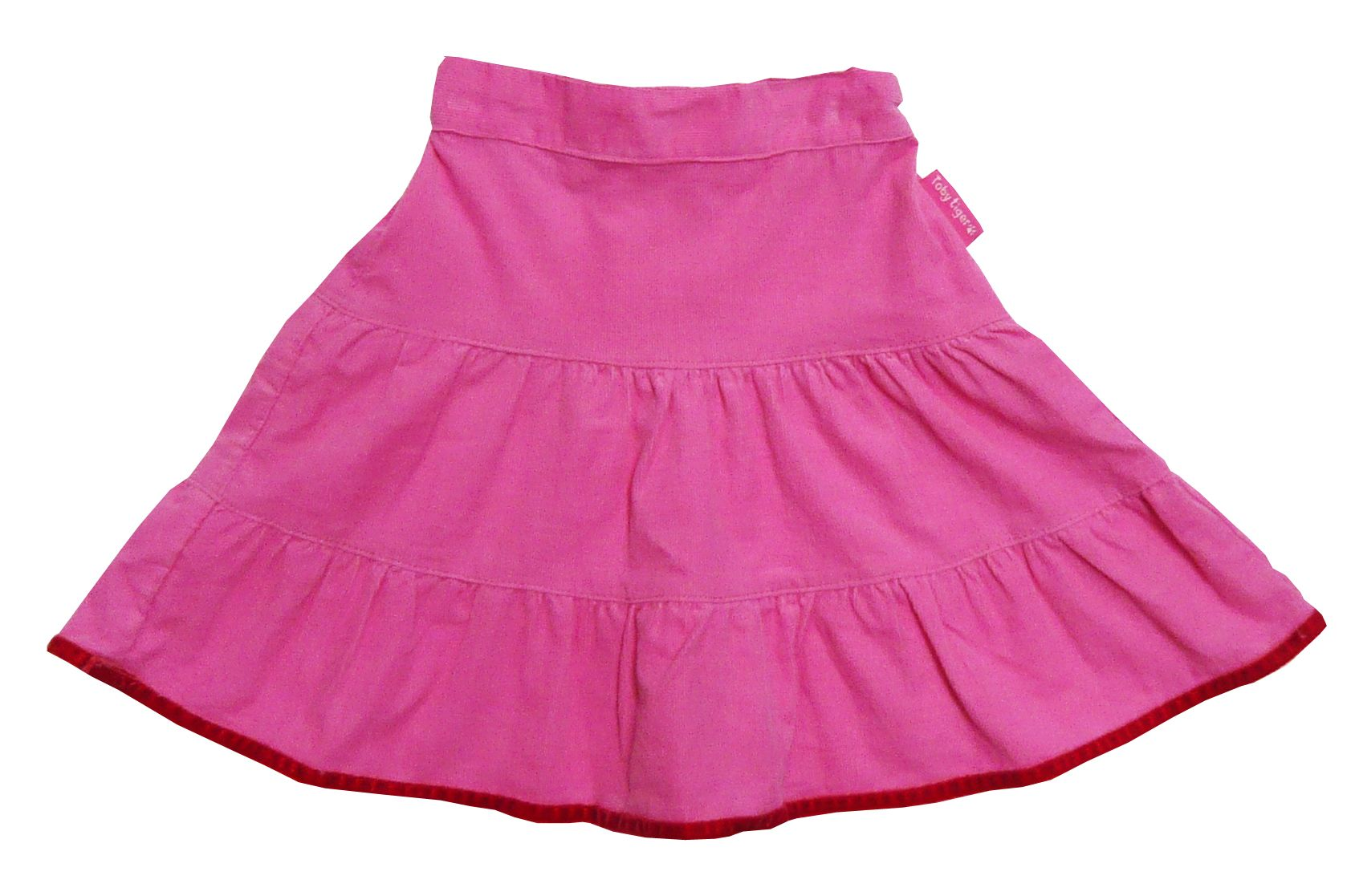 Girl`s cord pink skirt with velvet trim