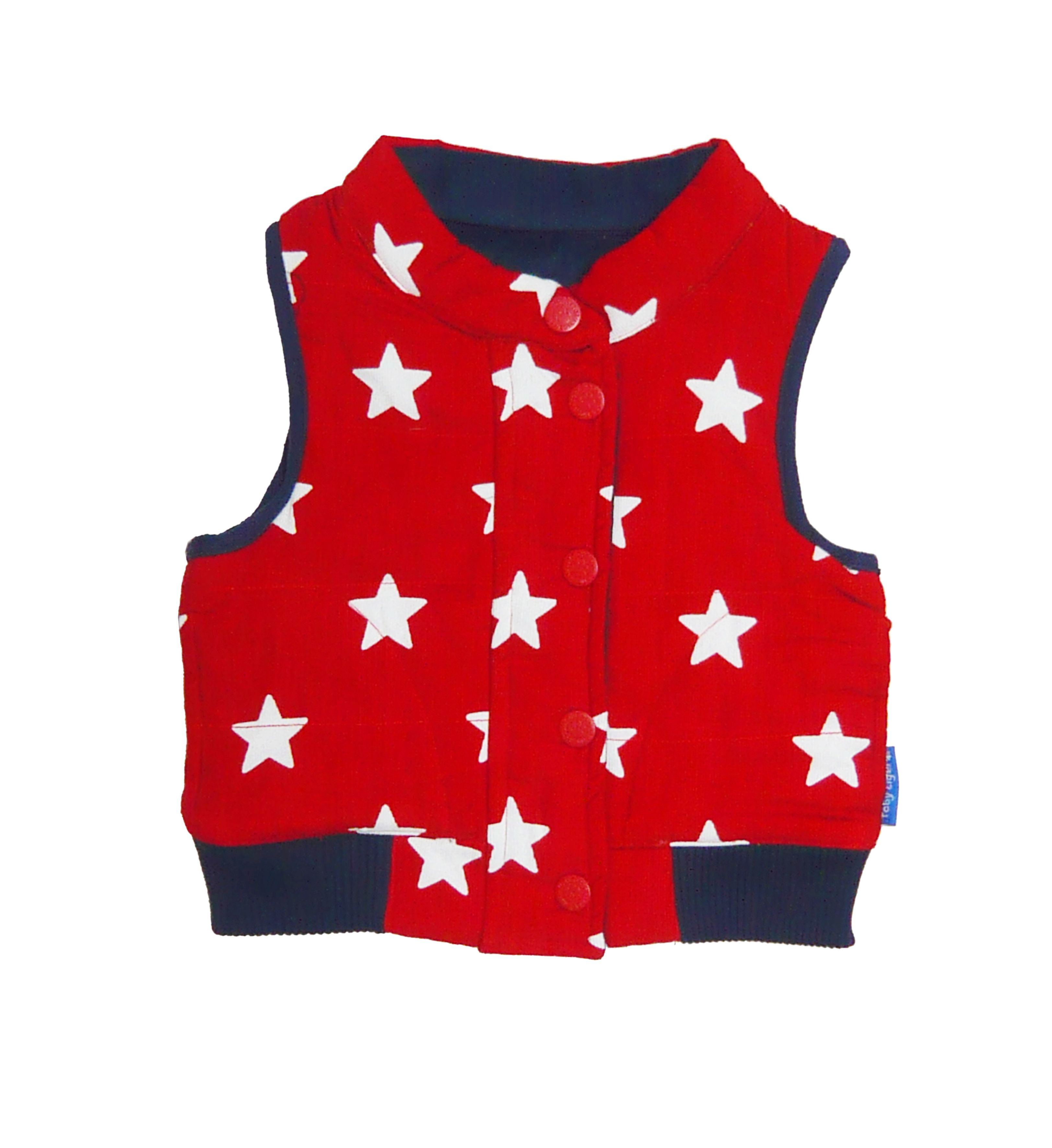 Toby Tiger Boys reversible cord gilet with stars, Red