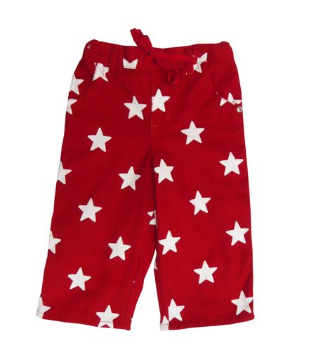 Toby Tiger Boy`s cord trousers red with stars