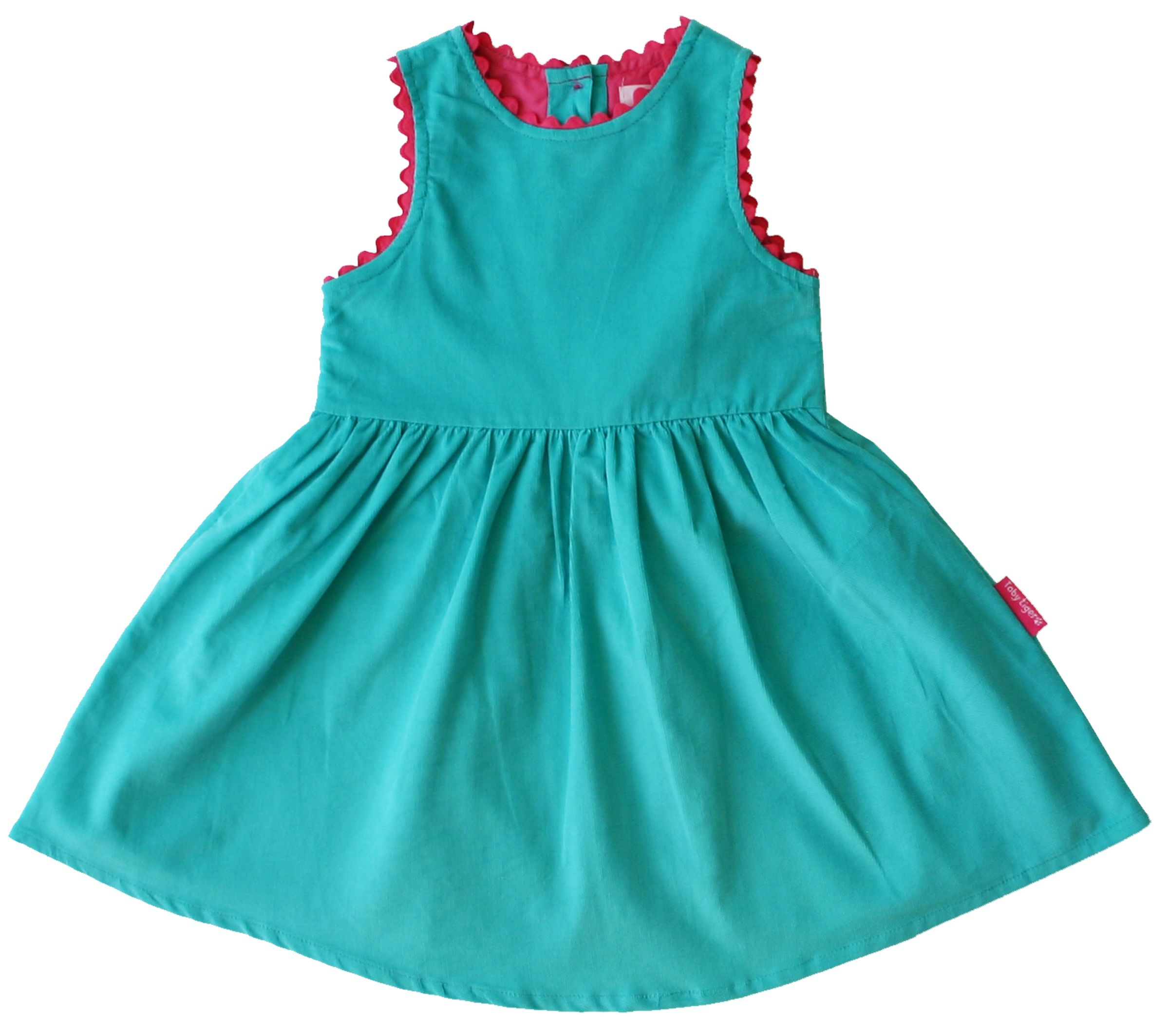 Girl`s cord party dress with pink trim