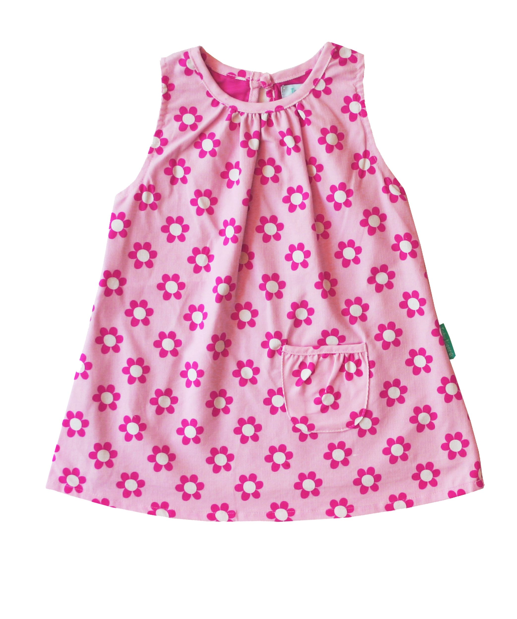 Girl`s cord pinafore dress with daisy