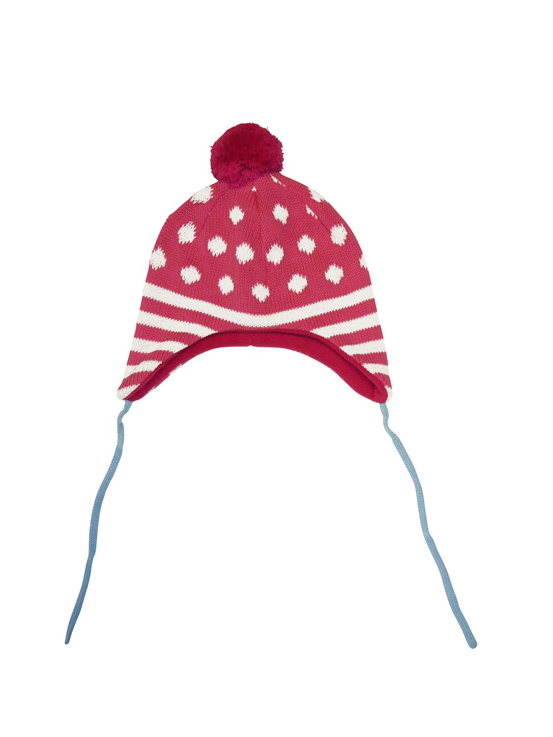 Girl`s knitted fleece lined hat with ties
