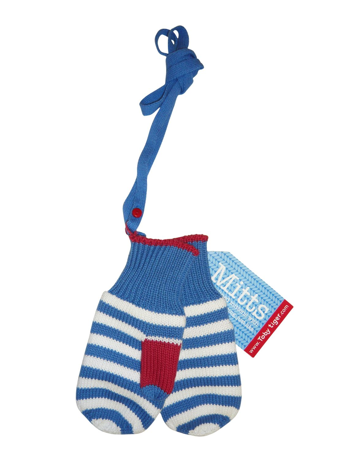 Boy`s knitted mitts, detachable strings