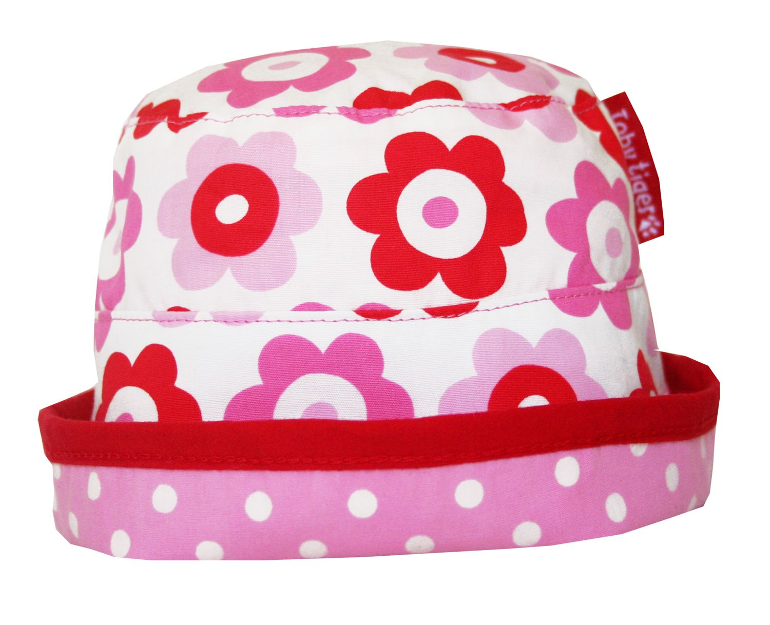 Toby Tiger Toby Tiger Girl`s reversible sunhat in pop flower, Pink