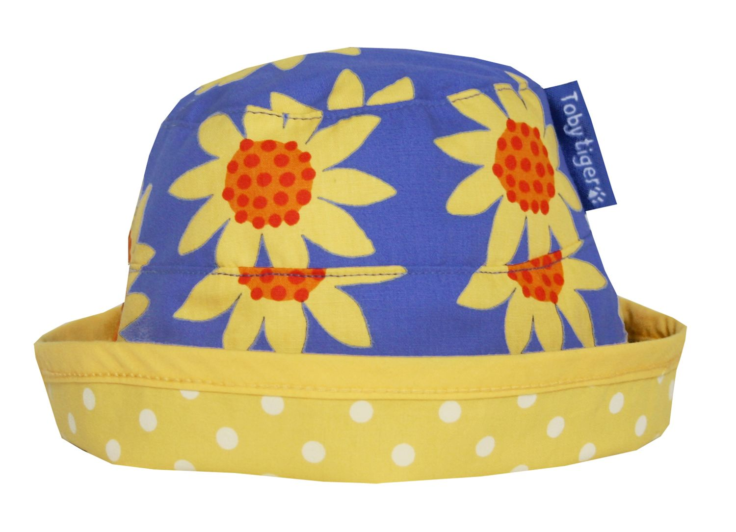 Toby Tiger Toby Tiger Girl`s reversible sunhat in sunflower, Blue