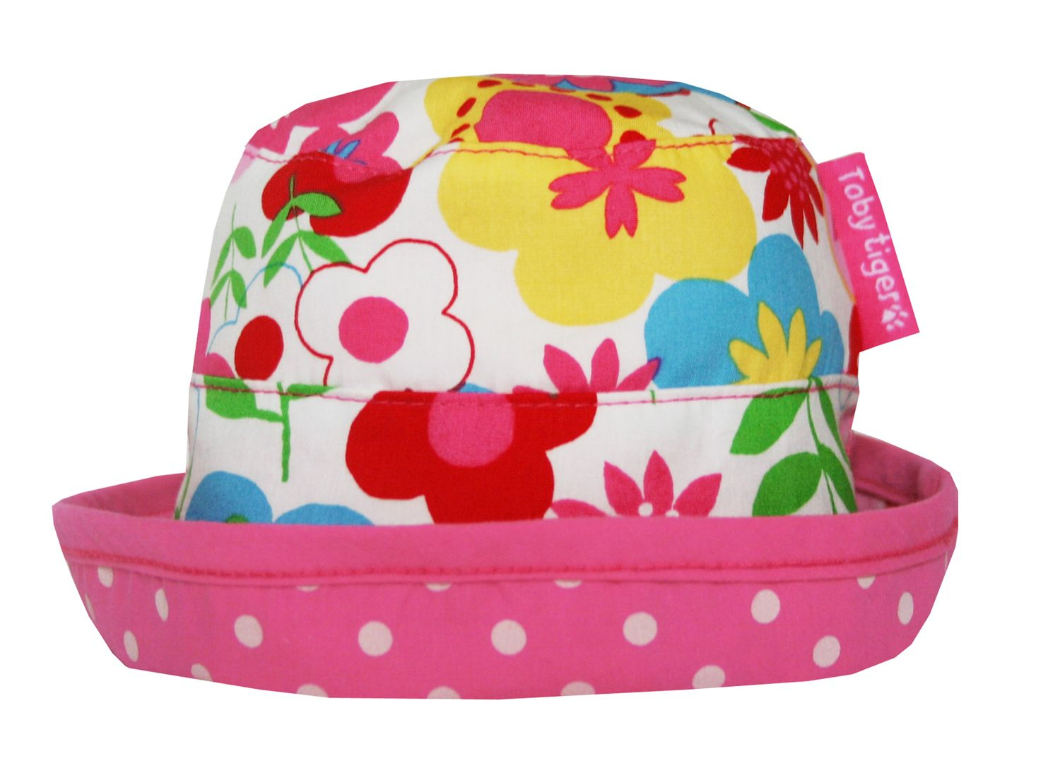 Toby Tiger Toby Tiger Girl`s reversible sunhat in multiflower, Pink
