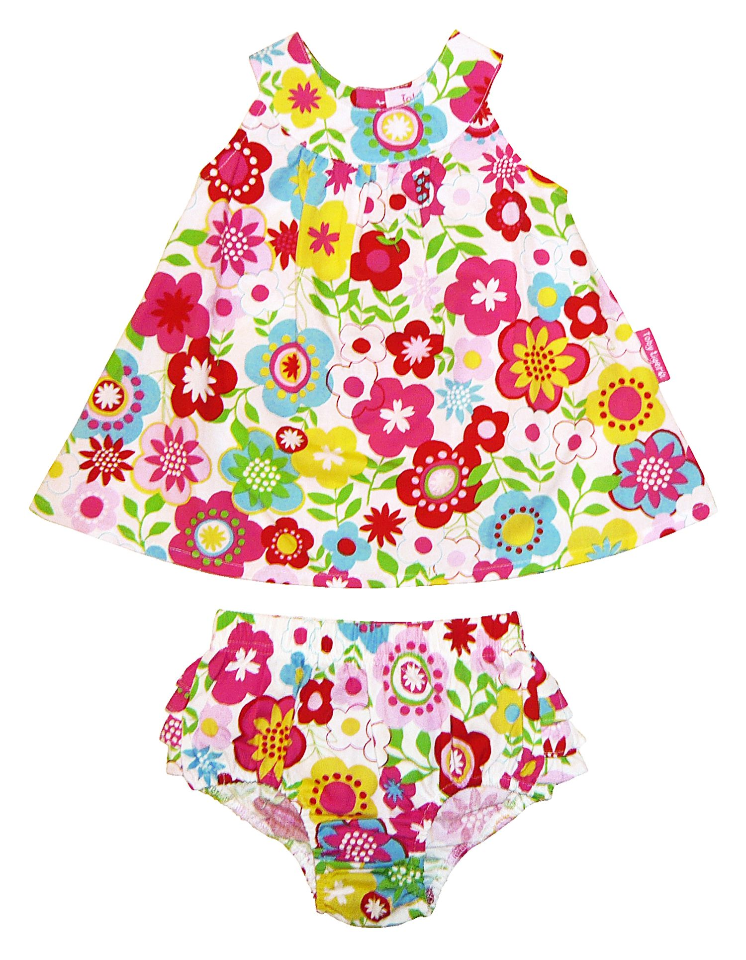 Girl`s dress & pant set in multiflower