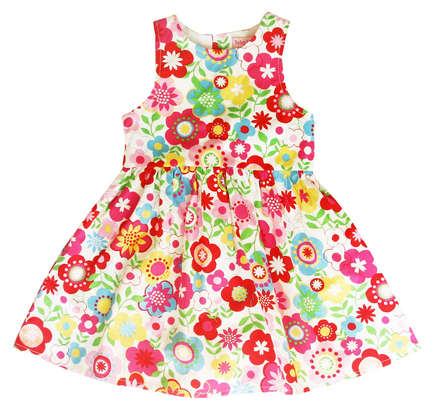 Girl`s party dress in multiflower