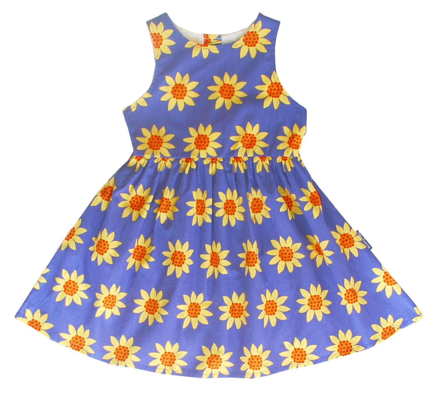 Toby Tiger Toby Tiger Girl`s party dress in sunflower, Blue
