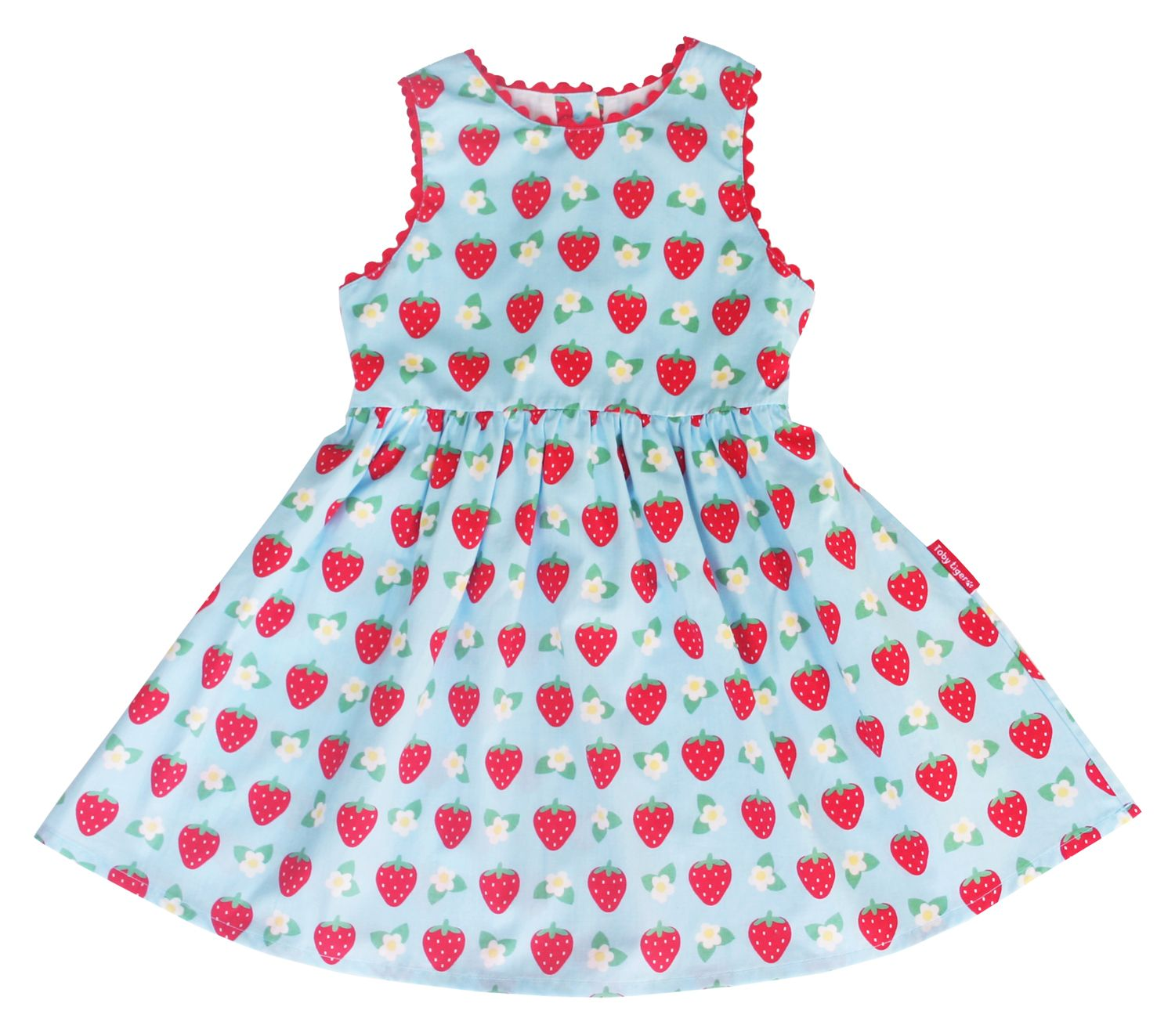 Girl`s party dress in strawberry