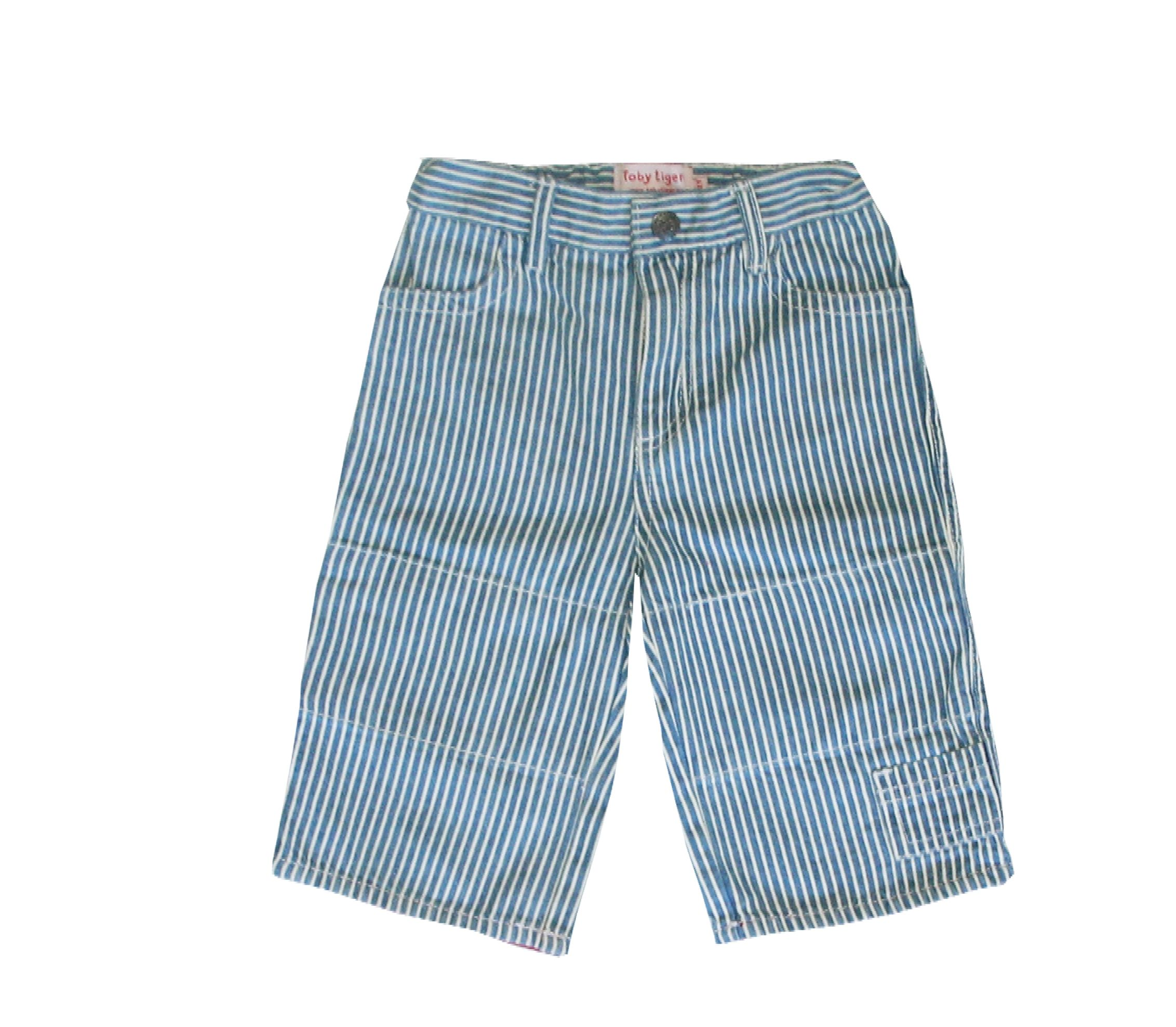 Boy`s blue stripe 3/4 length board shorts