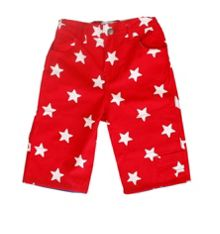 Boy`s red star 3/4 length board shorts