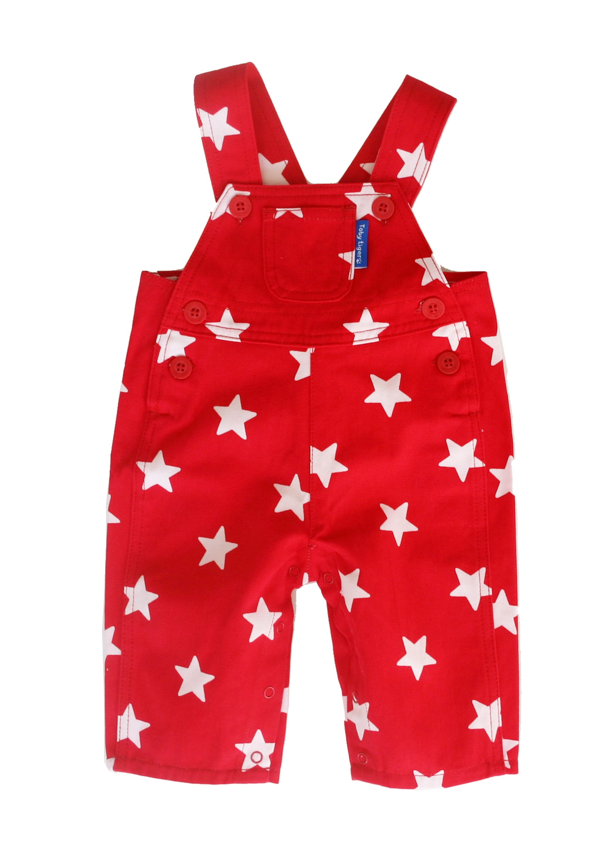 Toby Tiger Boys red star dungarees, Red