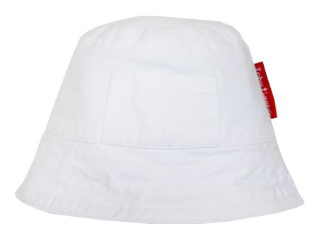 Toby Tiger Girl`s canvas sunhat in white