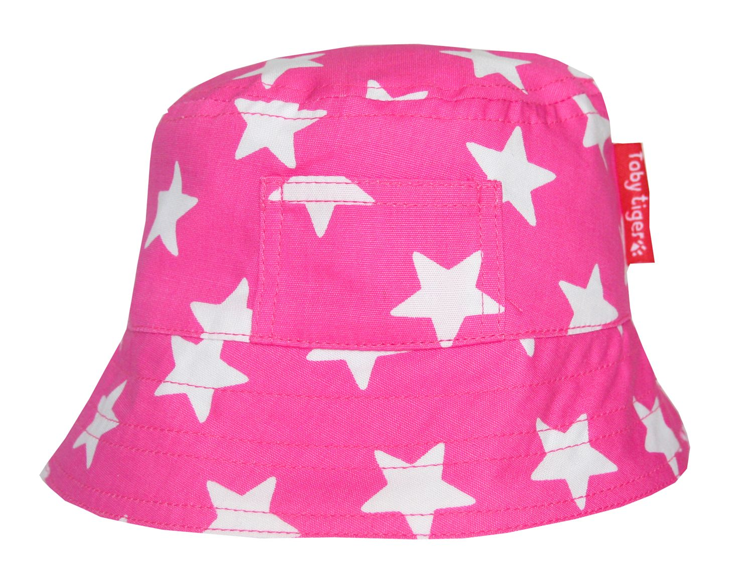 Toby Tiger Toby Tiger Girl`s canvas sunhat in pink star, Pink